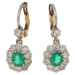 Emerald diamond cluster drop earrings