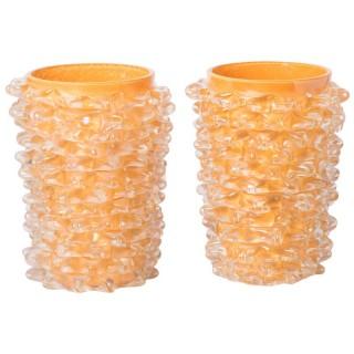 Pair of Murano Glass Rostratti Vases by Silvano Signoretto