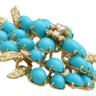 26.22ct Turquoise and 1.15ct Diamond, 18ct Yellow Gold Brooch - Vintage Circa 1960