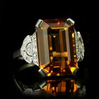 Art Deco Imperial precious topaz and diamond ring, circa 1930.