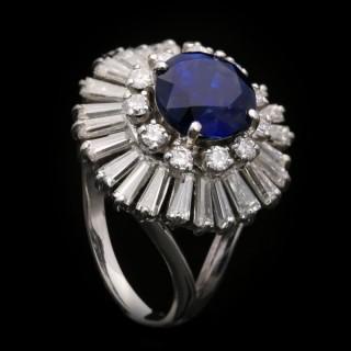 Vintage sapphire and diamond ballerina cluster ring, circa 1970.