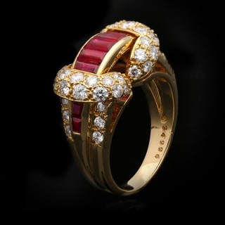 Oscar Heyman Brothers ruby and diamond cocktail ring, American, circa 1970.