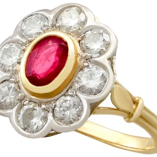 2.05 ct Diamond and Ruby Colour Doublet, 18 ct Yellow Gold Cluster Ring - Vintage Circa 1950