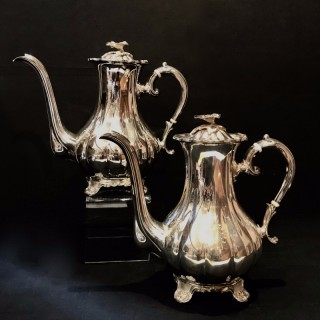 Pair of Tall Silver Coffee Pots