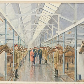 Oil Painting Of The Queens Visit To The Kings Royal Artillery Horse Troop