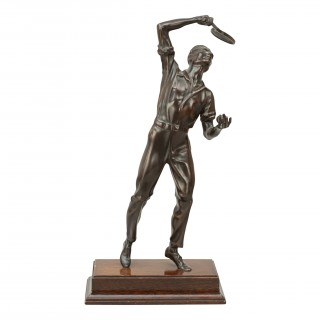 Bronze Figure Of A Tennis Player.