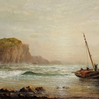 Fishing Boats on the Shore & Shipping off the Coast (A Pair)