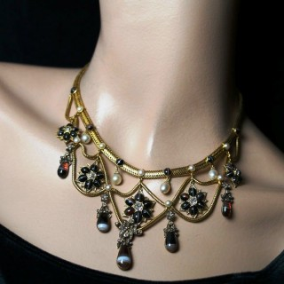 A wonderful gold, old-cut diamond, pearl and banded agate festoon necklace.