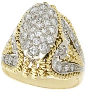 1.12ct Diamond and 18ct Yellow Gold Dress Ring - Vintage Italian Circa 1950