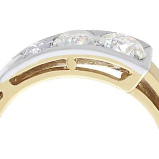 0.87 ct Diamond and 14 ct Yellow Gold Dress Ring - Vintage European Circa 1940