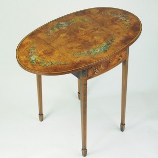 Late 19th century small painted satinwood oval Pembroke table