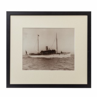 Original gelatin print of a gentleman's steam yacht on passage Circa 1890