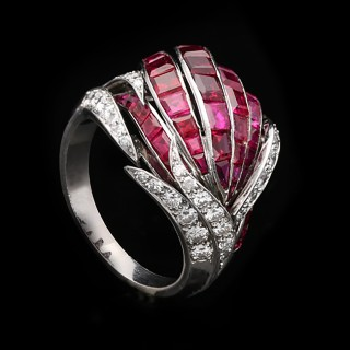 Ruby and diamond cocktail ring, French, circa 1950.