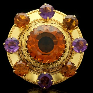 Victorian amethyst and citrine brooch, Scottish, circa 1860.