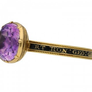 Amethyst memorial ring for the Right Honourable George Grenville (British Prime Minister, 1763-1765), English, circa 1770.