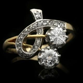 Edwardian diamond two stone ring, circa 1910.