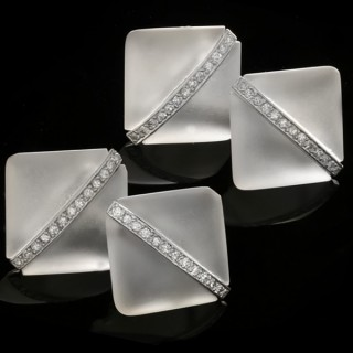 Art Deco rock crystal and diamond cufflinks, circa 1925.