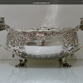 Early 20th Century Antique Edwardian Sterling Silver Large Oval Jardiniere Sheffield 1905 Henry Williamson Ltd