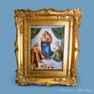 A Finely Painted Meissen Porcelain Plaque with The Sistine Madonna after Raphael