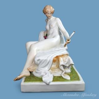 A Superb Art Nouveau Meissen Porcelain Nude