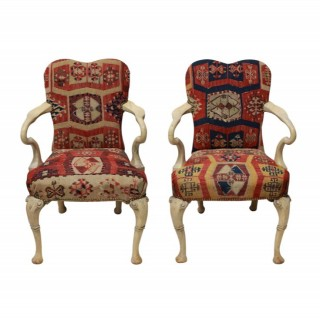 A PAIR OF SYRIE MAUGHAM KILIM COVERED ARMCHAIRS