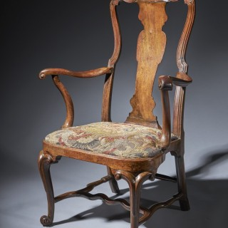 An Extraordinary George I Walnut Armchair, Circa 1725