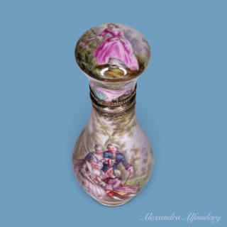 A Well Decorated 19th Century French Enamel and Silver Scent Bottle