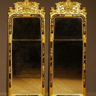 Pair of Early 20th Century Chinnoiserie Framed Mirrors in the Queen Anne Style