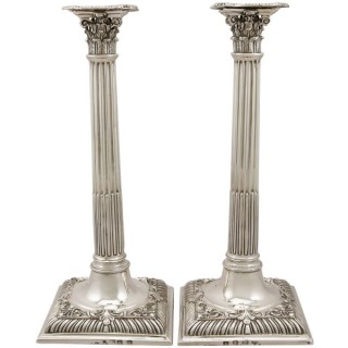 Sterling Silver Corinthian Column Candlesticks - Antique George III (1761)