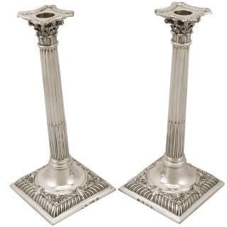 Sterling Silver Corinthian Column Candlesticks - Antique George III (1761)