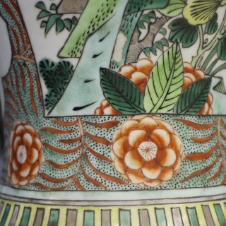 A pair of 19th century Chinese famille verte trumped shaped vases