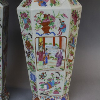 A large pair of 19th century canton famille rose vases