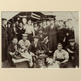 Photograph of the crew of HMS Dido on deck