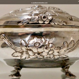 18th Century Antique German Oval Silver Sugar Box Berlin Circa 1790 Friedrich Jacob Stoltz