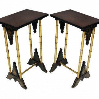 A PAIR OF ENGLISH JAPANNED WINE TABLES