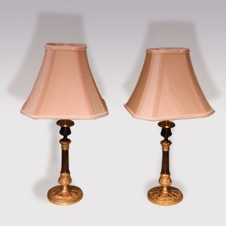 Pair of Acanthus Base Candlestick Lamps