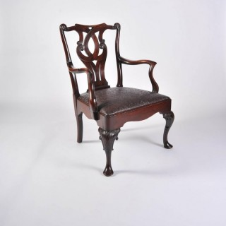 Chinese Open Armchair, Mid-18th Century, Mahogany, Rosewood, Cabriole Legs