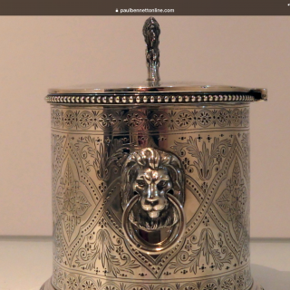 19th Century Antique Victorian Sterling Silver Biscuit Box London 1873 Charles Boyton
