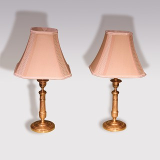 Pair of Engine turned Ormolu Candlestick Lamps