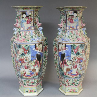 A large pair of 19th century Chinese canton famille rose vases