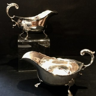 Pair of Heavy Silver Sauceboats