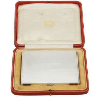 Sterling Silver and Enamel Box by Cartier - Antique Edward VIII