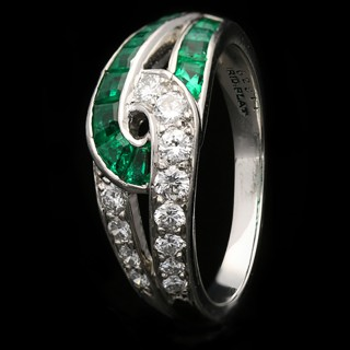 Vintage emerald and diamond ring by Oscar Heyman Brothers, American, circa 1960.