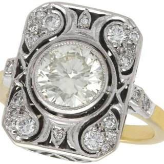 2.08ct Diamond and 14ct Yellow Gold Dress Ring - Art Deco - Vintage Circa 1950