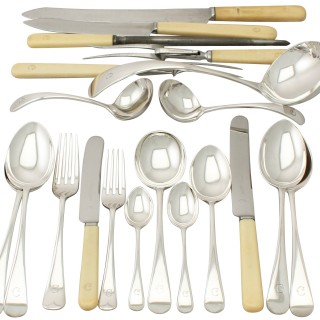 Sterling Silver Canteen of Cutlery for Twelve Persons - Antique George VI (1938)