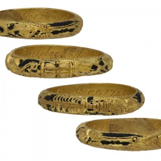 Gold and black enamel mourning ring, English, circa 1726.