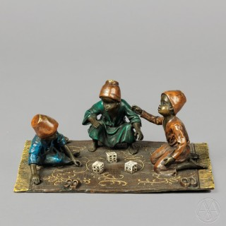 'The Dice Players' - A Fine Cold Painted Orientalist Bronze Group
