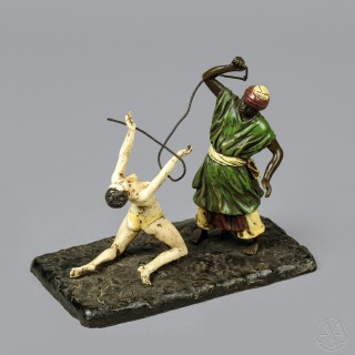 'The Slave Master' - A Cold Painted Orientalist Bronze Group