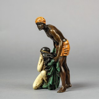 'The Slave Seller' - A Cold Painted Orientalist Bronze Group