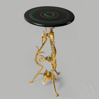 An Unusual Neoclassical Style Gilt-Bronze Gueridon With An Inlaid Black Marble Top
